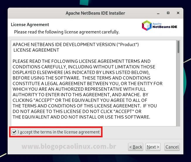 Contato de Licença do NetBeans IDE