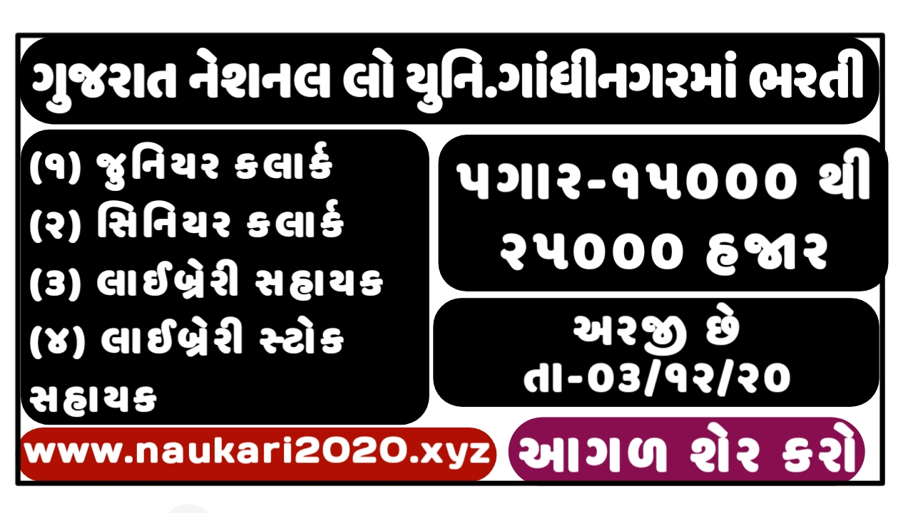 Gujarat National Law University (GNLU) Notification For Verious Post 2020