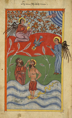 Baptism of Christ as depicted in an Armenian Gospel book was produced in (1455 CE) at the monastery of Gamałiēl in Xizan by the scribe Yohannēs Vardapet and was illuminated by the priest Xačʿatur.