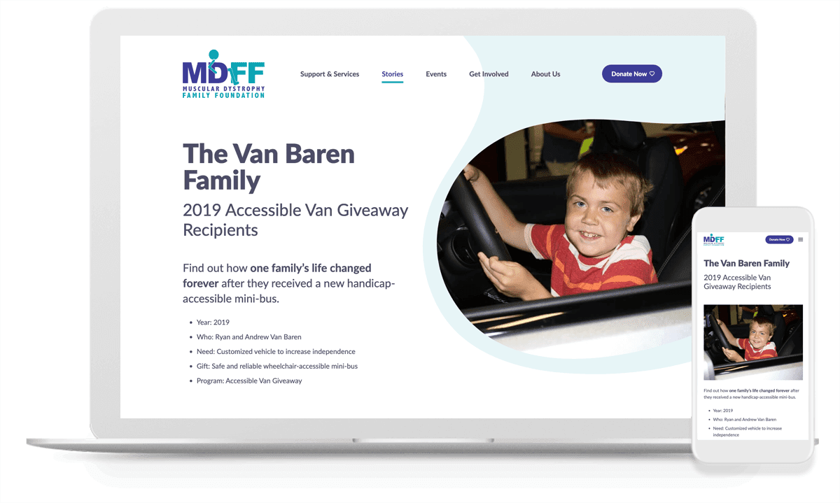 the mobile and desktop view of MDFF's new membership website