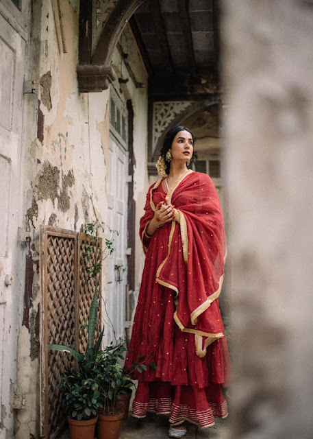 Sonal Chauhan Recent Pictures in Dark Red Chudidhar Actress Trend