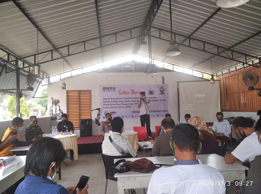 Coffee Morning, KPU Luwu Utara Sosialisasi Iklan Kampanye dan Debat Publik Paslon