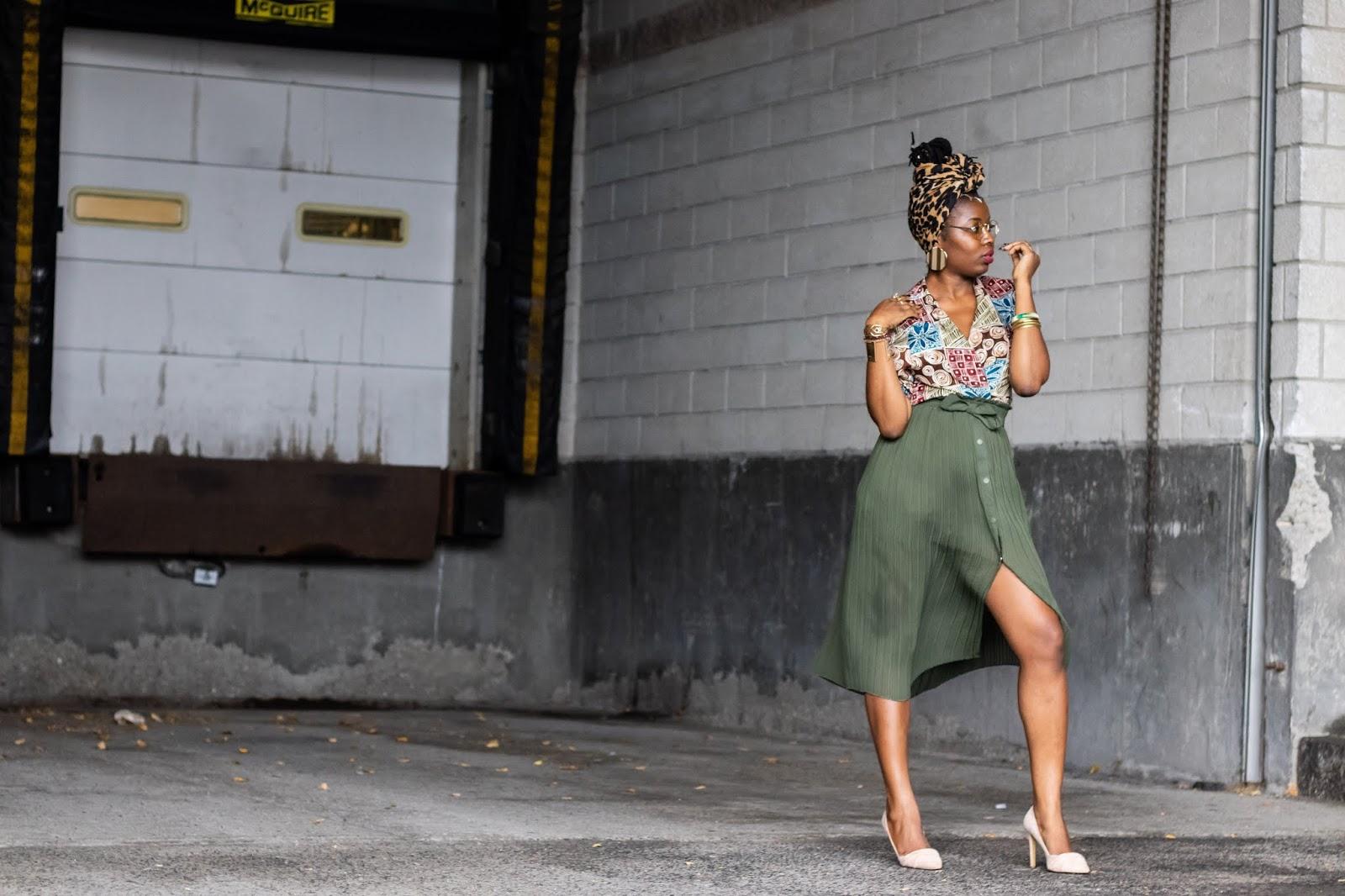 Vintage oversized blazer, Zara pleated skirt, nude heels, restyle, vintage outfits, leopard print head wrap