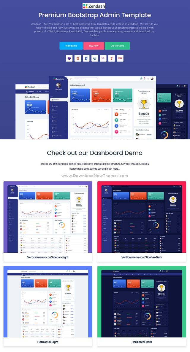 Zendash Bootstrap HTML Dashboard Template