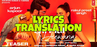 Dil Hai Deewana Lyrics in English | With Translation | – Darshan Raval | Arjun Kapoor