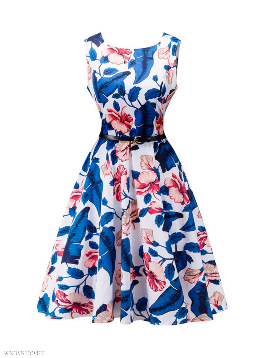 Round Neck Floral And Leaf Printed Cotton Skater Dress