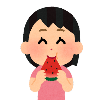スイカを食べる人のイラスト(女の子)