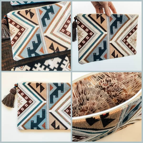 Kilim inspired needlepoint clutch with tassel zip pull in blues and beiges