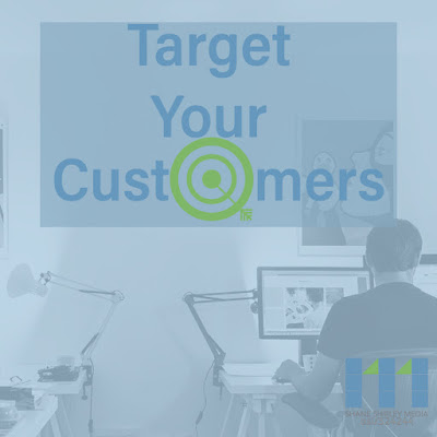 Man Sitting at his desk on the computer with text saying Target Your Customers