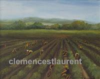 Cueilleurs de fraises, Îles d'Orléans, huile 8 x 10, 1978 - par Clémence St-Laurent