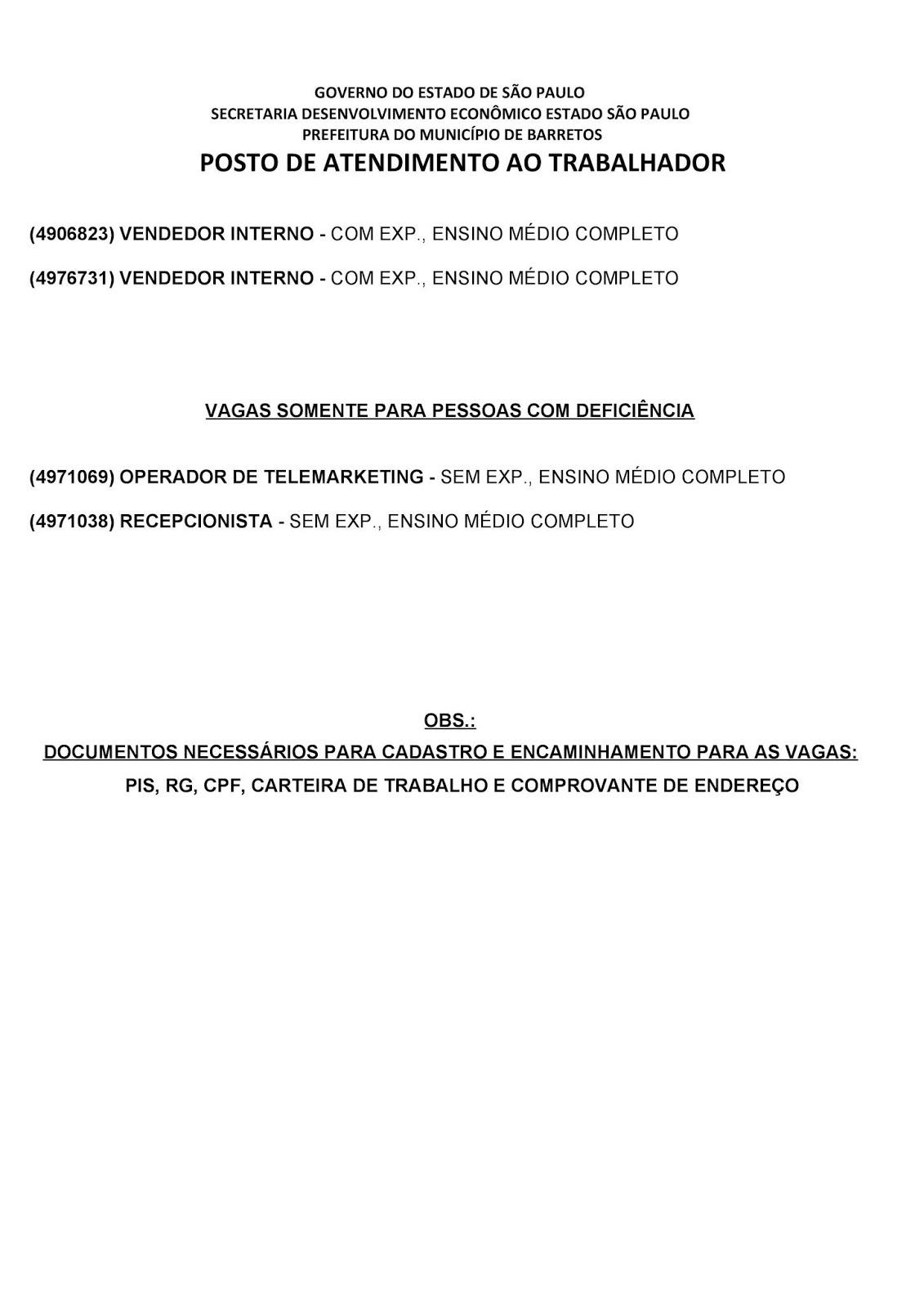 VAGAS DE EMPREGO DO PAT BARRETOS-SP PARA 01/06/2019 SÁBADO - PAG. 2