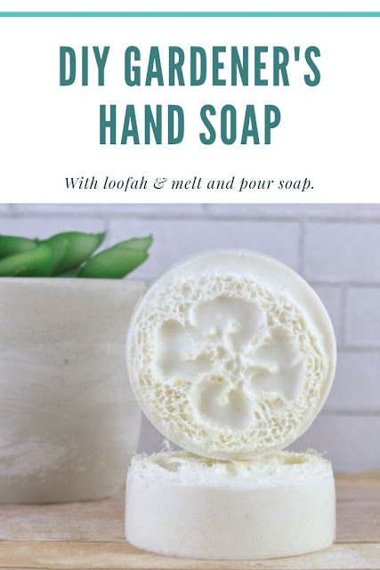 How to make DIY gardener's soap with melt and pour soap. This has additives like ground almonds, peppermint, lemon, and tea tree essential oils, and clay to exfoliate and scrub away dirt. There's a loofah embeds to naturally clean hands. This natural hand scrub bar soap recipe makes a great gift ideas for country living. Handmade soap tutorials and techniques even for beginners. #soap #gardenerssoap #meltandpour #loofah