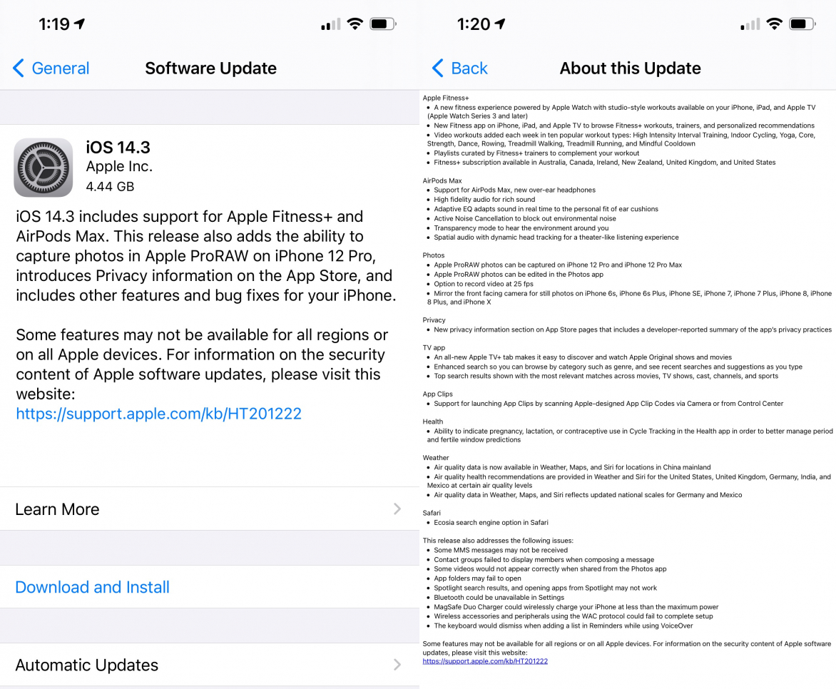 iOS 14.3 iPadOS 14.3 Features