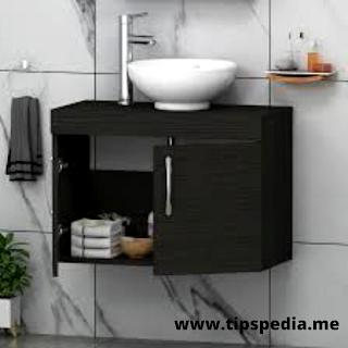 black wall mounted bathroom cabinet