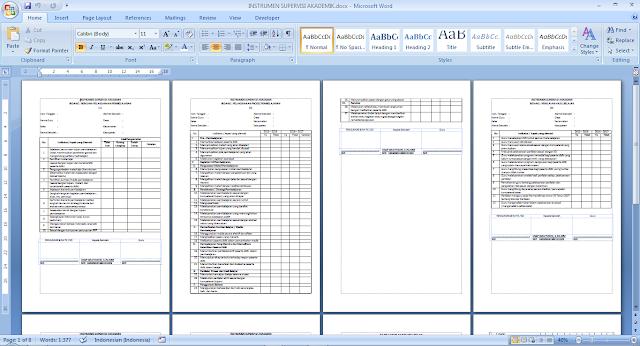 Download Formulir Instrumen Supervisi Guru Kelas dan Guru Mata Pelajaran