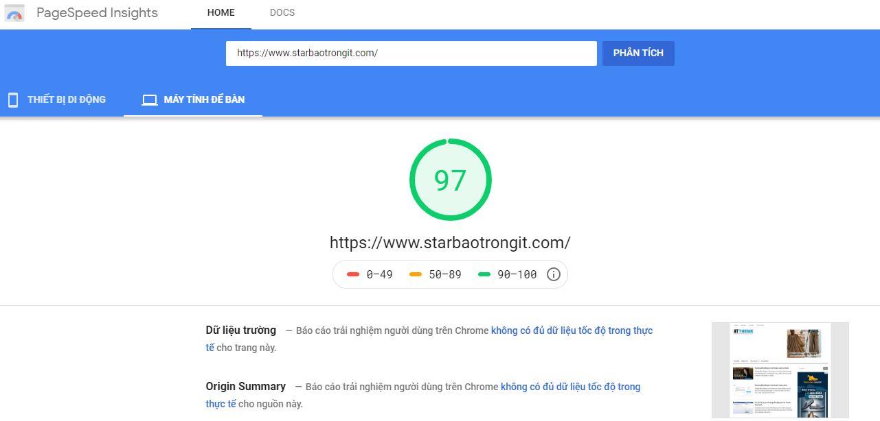 Hướng dẫn kiểm tra tốc độ của trang blogspot