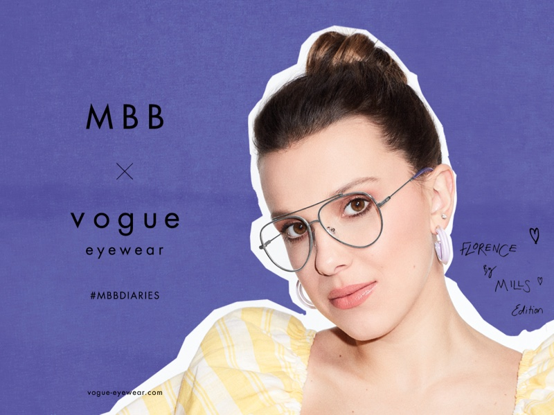 Actress Millie Bobby Brown fronts MBB x Vogue Eyewear 2021 campaign.