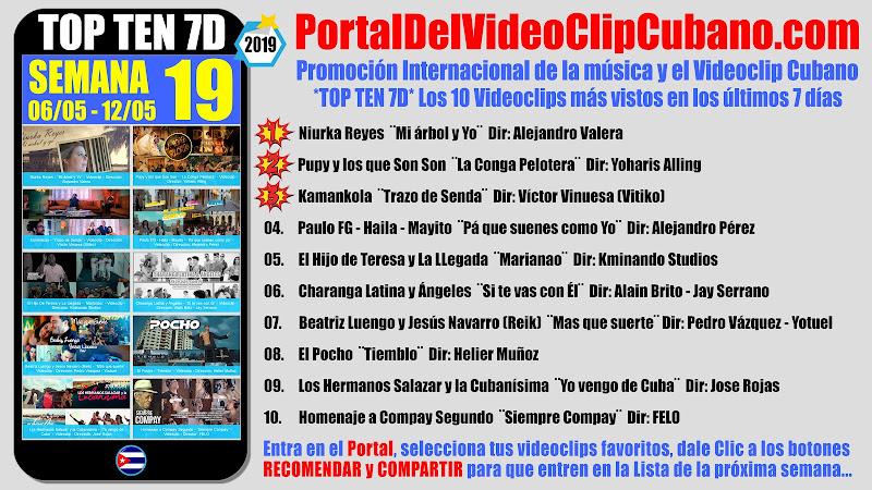 Artistas ganadores del * TOP TEN 7D * con los 10 Videoclips más vistos en la semana 19 (06/05 a 12/05 de 2019) en el Portal Del Vídeo Clip Cubano