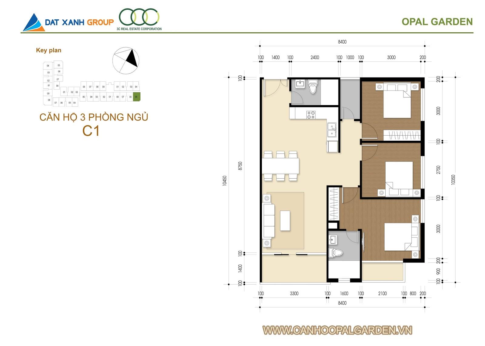 Thiết kế căn hộ opal garden 3 phòng ngủ