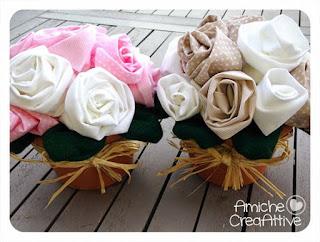 bouquet roselline di stoffa
