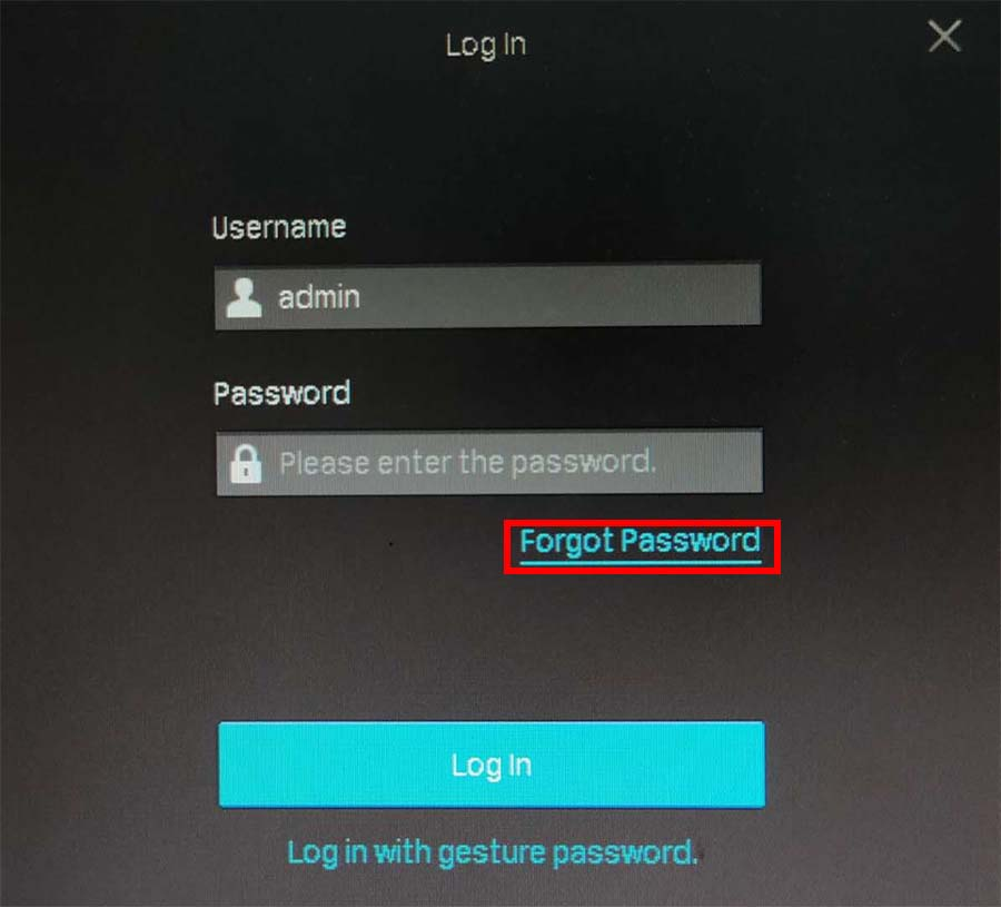 reset the password on VIGI NVR (TP-Link)