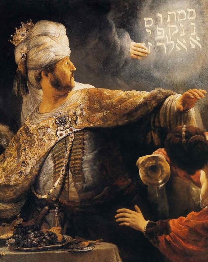 Na festa de Balthasar, rei da Babilônia, uma mão misteriosa escreveu 'Teus dias estão contados', Rembrandt van Rijn (1606 — 1669), National Gallery, Londres