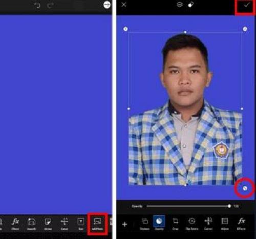Cara Edit Background Pas Foto Biru dan Merah PicsArt
