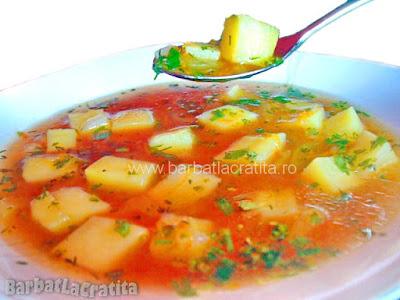 Ciorba de cartofi in farfurie (imaginea retetei)