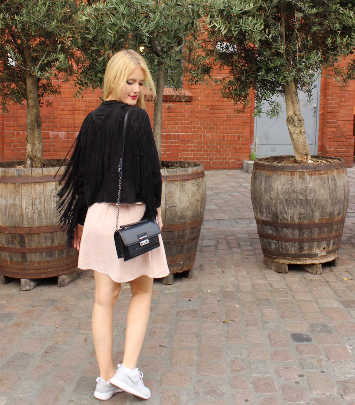 TheBlondeLion Fashion Look Fringed Suede Leather Jacket Nike Roshe Runs Chiffon
