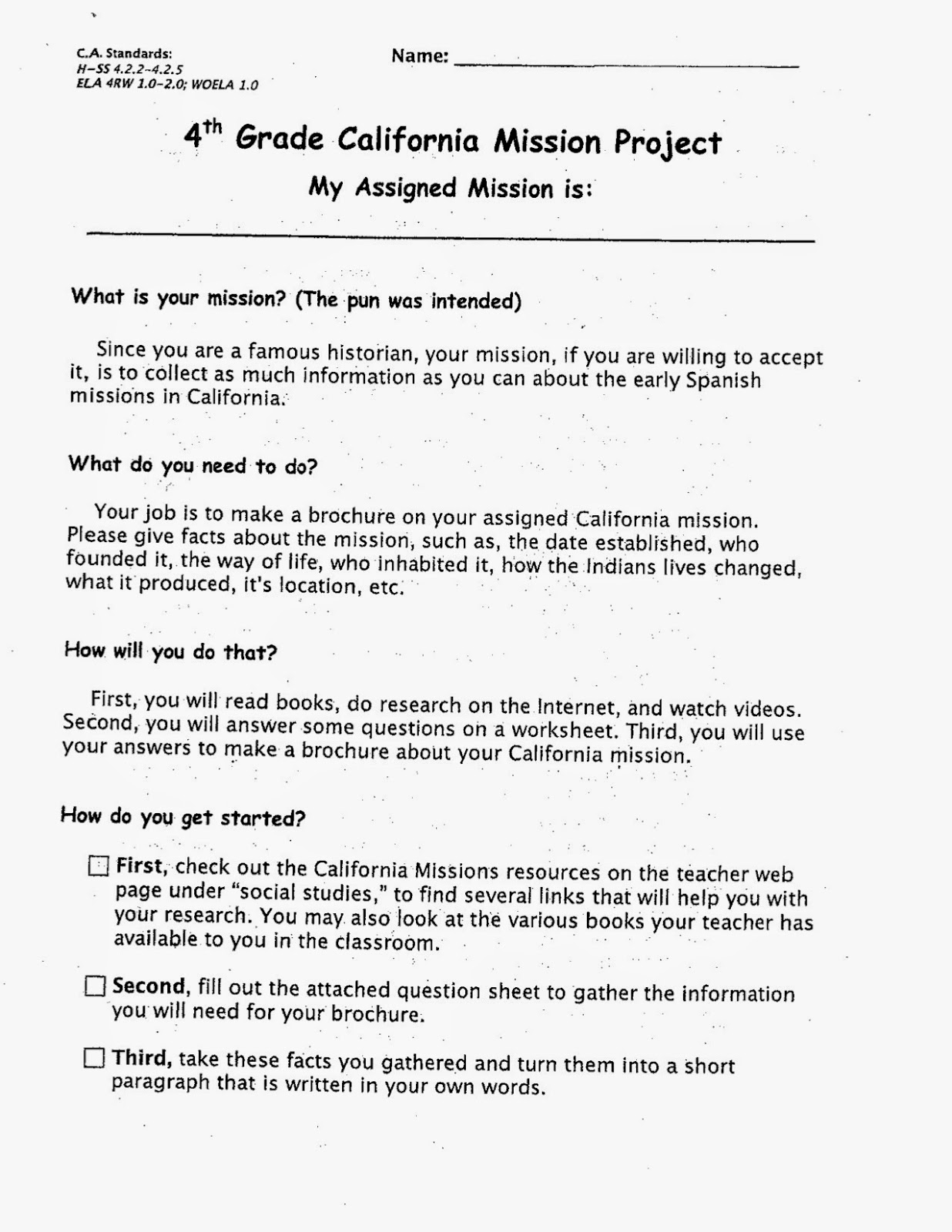 Welcome To Our Class California Mission Assignment