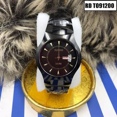 Đồng hồ đeo tay nam mặt tròn dây đá ceramic RD T091200