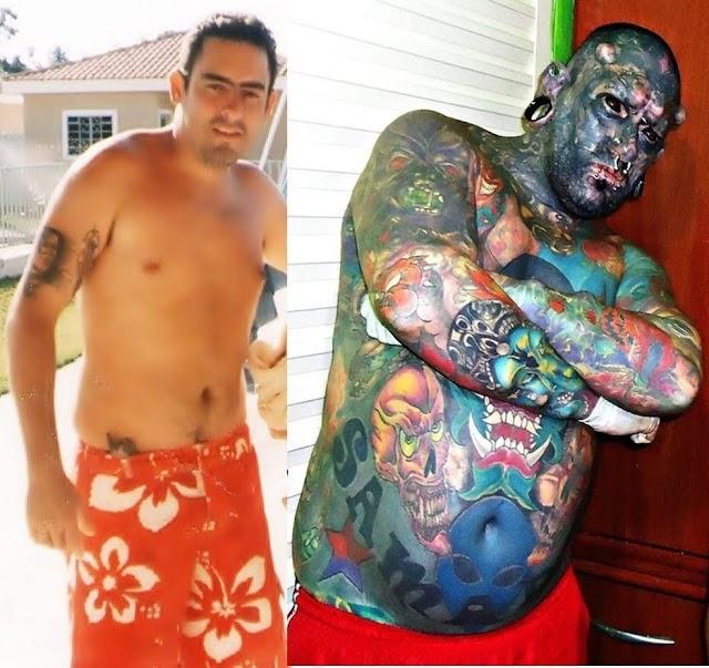 Recordista de tatuagens corta o nariz e vira o 'Caveira': 'Sempre gostei de ser diferente'