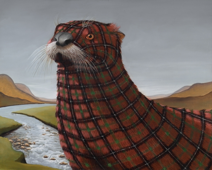 03-Akins-Sean-Landers-Paintings-of-Animals-that-Swap-their-Fur-for-Tartan-Coats-www-designstack-co