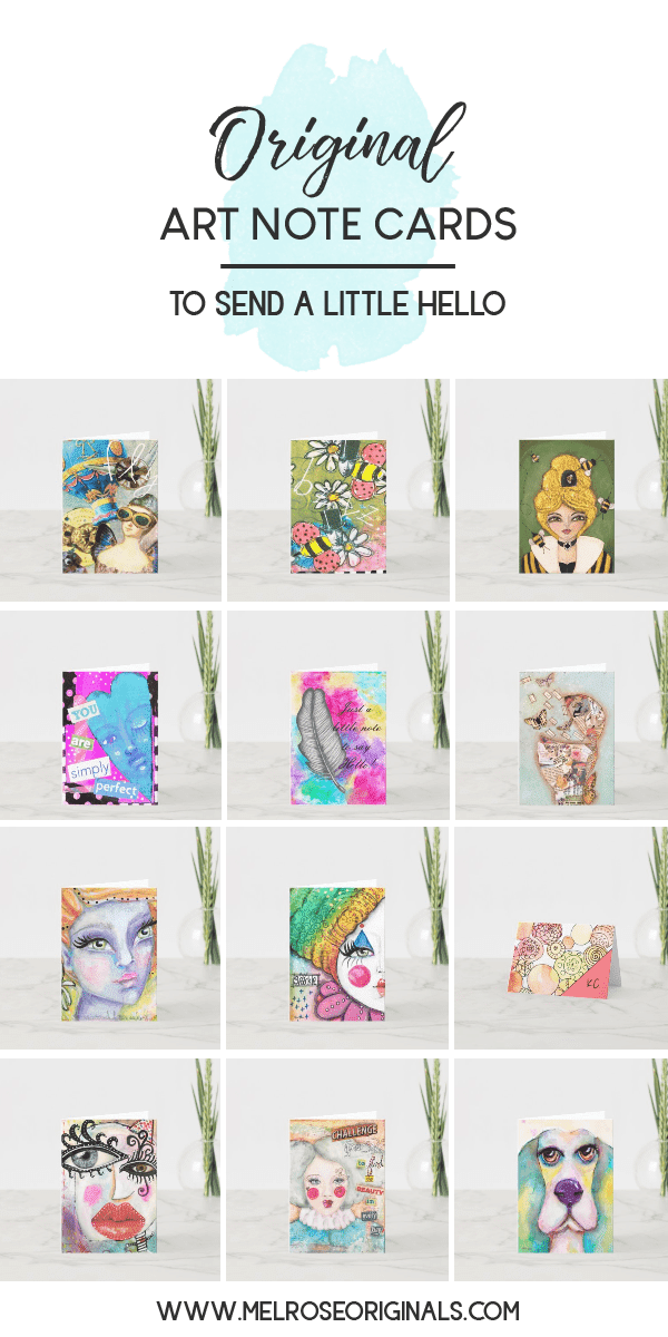 blank note cards with whimsical faces, colorful abstracts, and mixed media original art from Melrose Originals