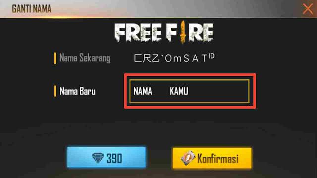 Cara membuat nickname free fire pakai spasi