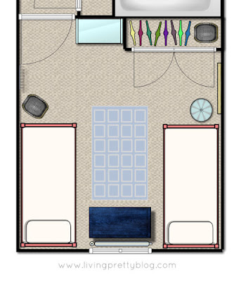 Floor Plan - Blue Red Mint Kids Room - Shared Kids Room Reveal - One Room Challenge