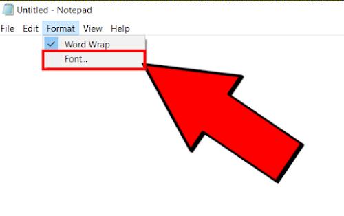 notepad मे फॉन्ट कैसे बदले?