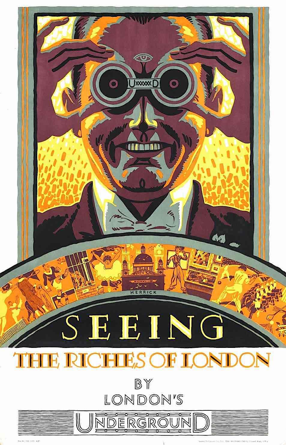a Frederick C. Herrick 1927 London subway poster
