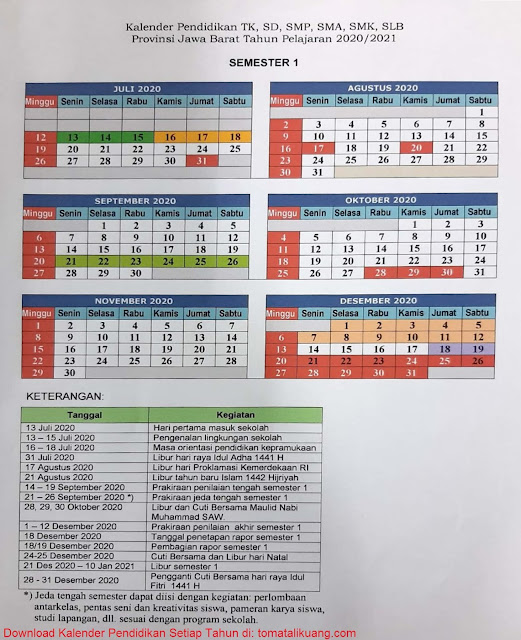 Kalender Pendidikan TK, SD, SMP, SMA, SMK Provinsi Jawa Barat Tahun Pelajaran 2020/2021; kalender pendidikan jawa barat 2020/2021 semester 1; tomatalikuang.com