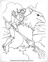 Barbie Father Riding The Magical Pegasus Coloring Pages