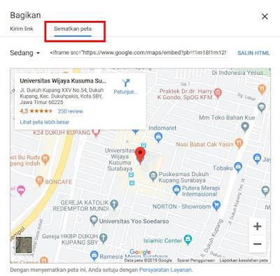 Kemudian akan muncul tampilan yang memberikan dua opsi yaitu Bagikan Tautan dan Sematkan Peta. Sobat klik Sematkan Peta.