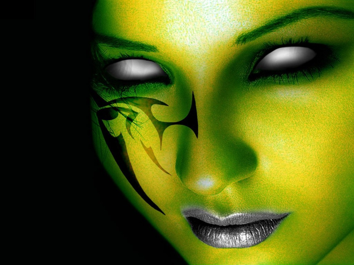 HQ Wallpapers Arena Green Horror Face Tattoo Wallpaper