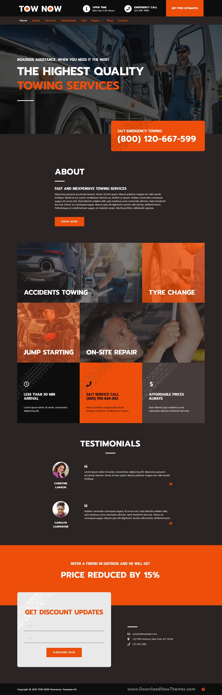 Tow Now - Towing Services Elementor Template Kit Review