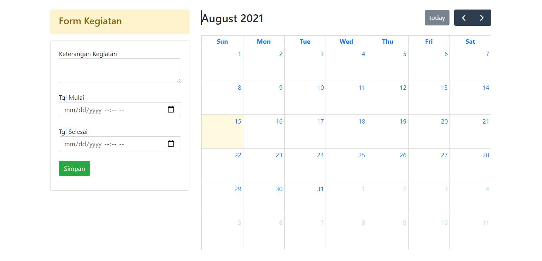 tampilan project aplikasi jadwal sahretech