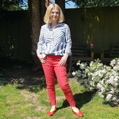 image showing red pants outfit