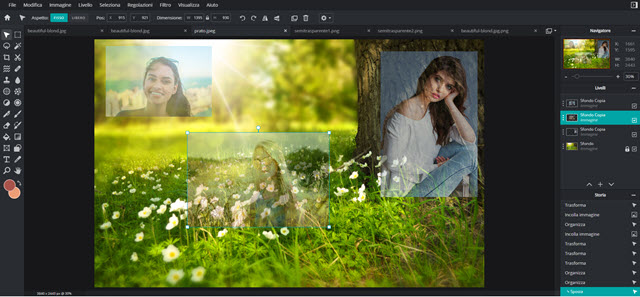 immagini semitrasparenti sopra ad altre foto