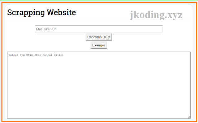 Tampilan Panel Scraping Website
