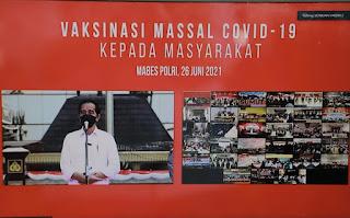 Presiden Joko Widodo membuka secara virtual acara yang digelar diseluruh jajaran Kepolisian pada Sabtu (26/6/2021).