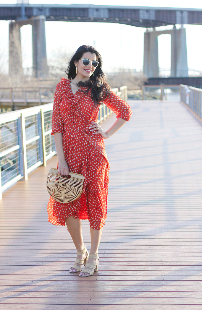 How To Style Ruffle Dress, How to wear a ruffle dress, Ruffle Wrap Dress, Ruffle Dresses For 2018, Spring Dresses for 2018, eShakti ruffle dress, polka dot ruffle dress, Cult Gaia ark, Bamboo ark bag, bamboo bags