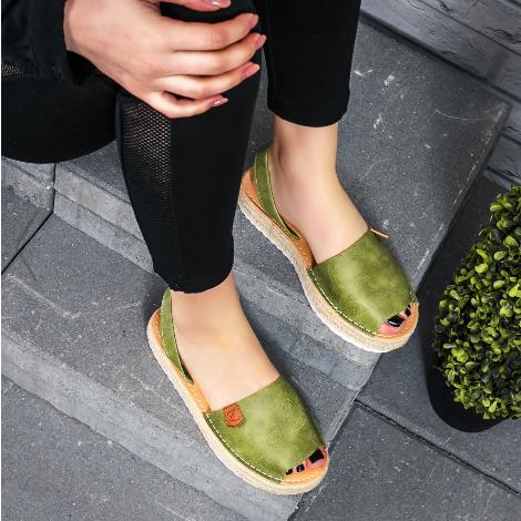 Sandale dama cu talpa groasa khaki model espadrila din piele eco